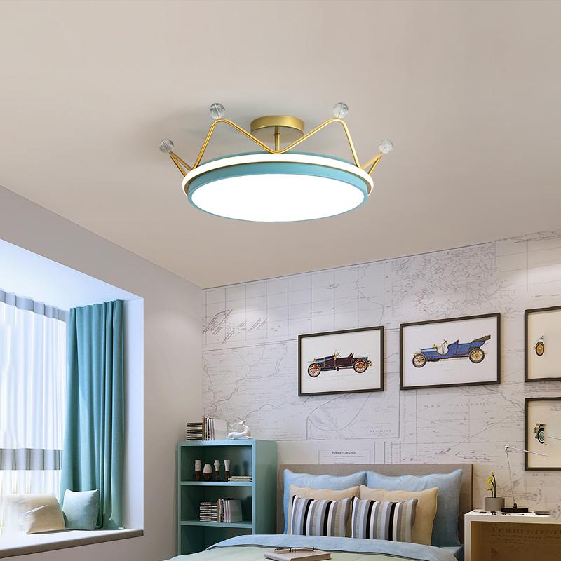 儿童房灯饰网红皇冠创意北欧书房房间灯具 led 简约现代 卧室灯吸顶