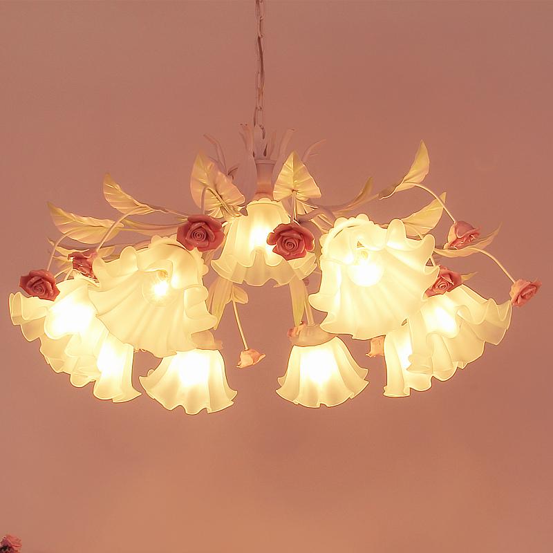 厅灯儿童房女孩卧室婚房粉吊灯