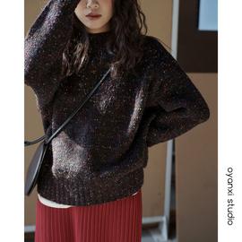 慵懒风套头毛衣新款韩版加厚针织衫复古彩点设计感加厚定染上衣女