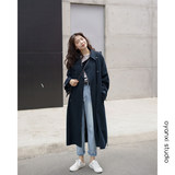 Ouyang hi long coat female spring new Korean loose knee cardigan coat lapel coat temperament