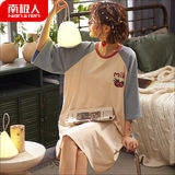 Antarctic Ms. thin cotton short sleeve dress sexy nightgown female summer pajamas summer home service in spring and autumn big yards