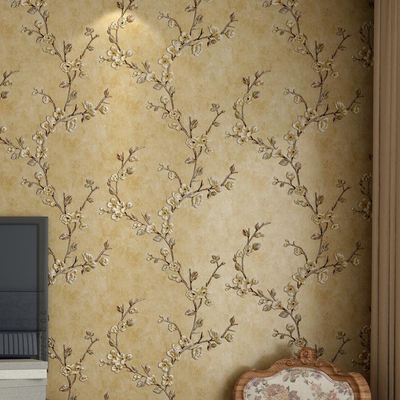 版搭配电视背景墙纸 AB 立体田园卧室客厅 3D 复古美式乡村壁纸无纺布