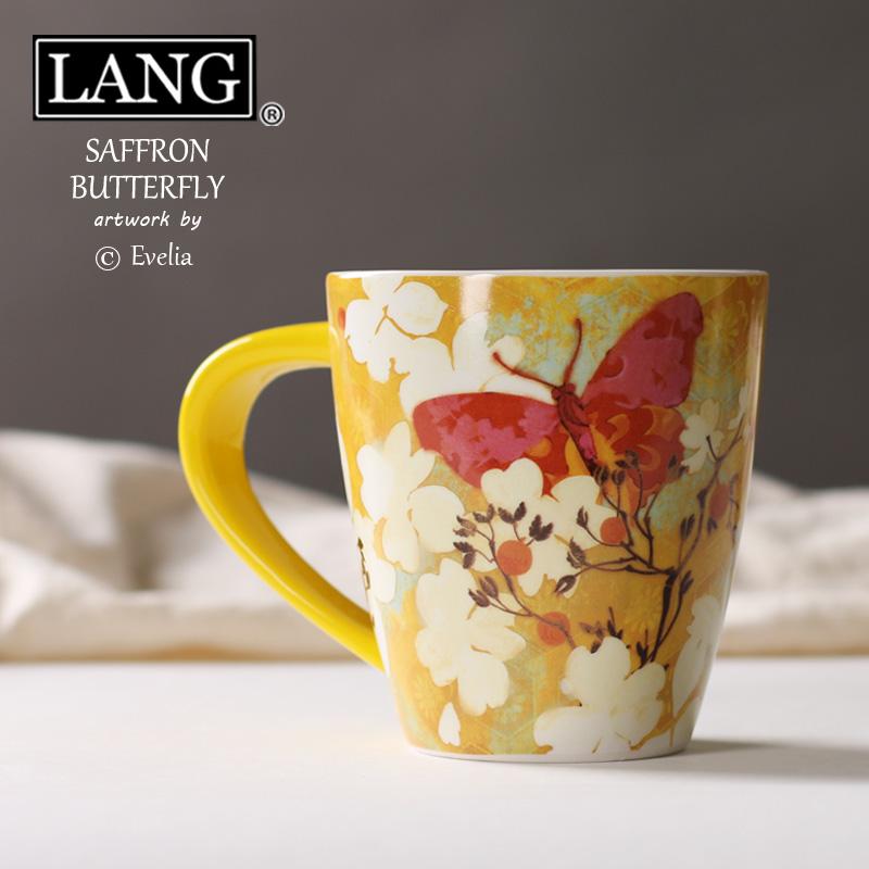 出口陶瓷杯水杯 美國LANG馬克杯咖啡杯奶茶杯 番紅花蝴蝶