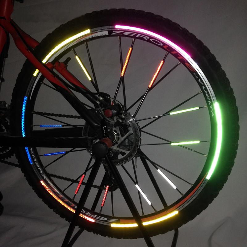 自行車輪胎反光貼紙山地車裝飾風火輪單車鋼圈反光條鋼絲輻條棒