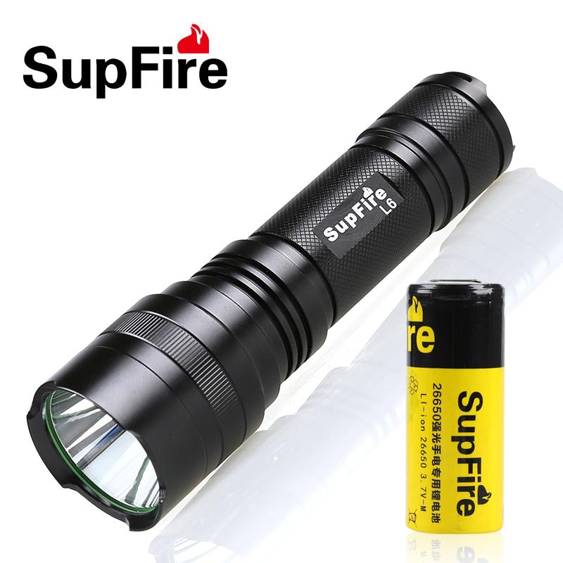 神火Supfire強光手電筒USB充電L6-S防水騎行26650超亮10W遠射照明