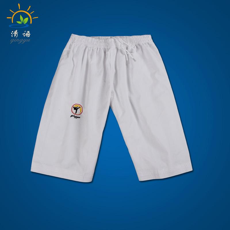 清語夏季跆拳道褲子黑色兒童男女成人全棉訓練褲跆拳道服短褲白色