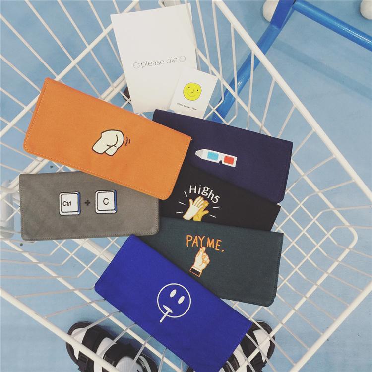 韓國時尚卡通刺繡復古長款錢包帆布零錢包男女多卡位實用卡包錢夾