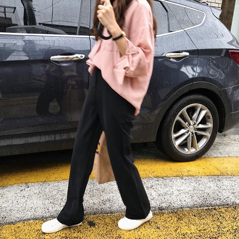 最小的海自制 微喇裤 暗扣带口袋西装裤 韩版修身显瘦高腰直筒裤
