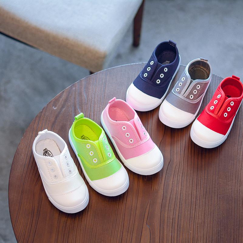 [淘寶網] 2018兒童鞋春季帆布鞋一腳蹬童鞋包頭休閒板鞋學生跳舞小白鞋單鞋