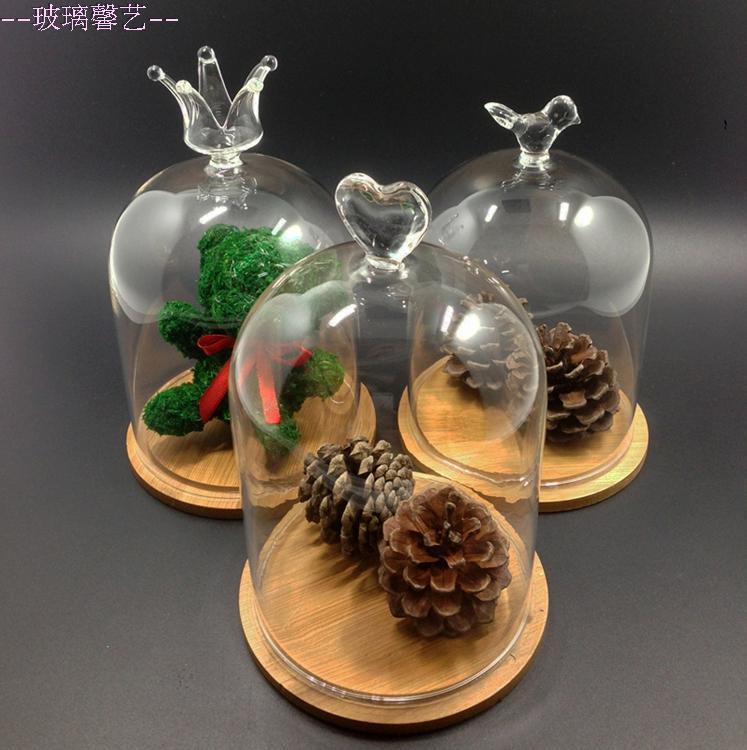 DIY容器玻璃花瓶永生花保鮮花透明玻璃罩皇冠愛心款擺件廠家直銷