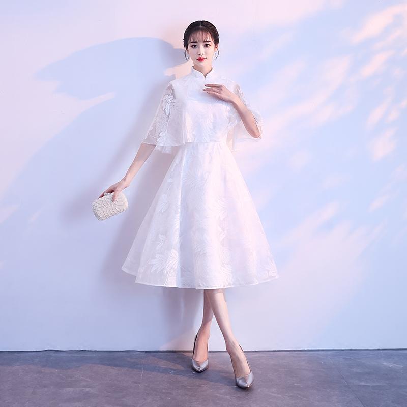 宴会晚礼服2019新款春季白色中长款洋装学生艺考伴娘服小礼服裙女
