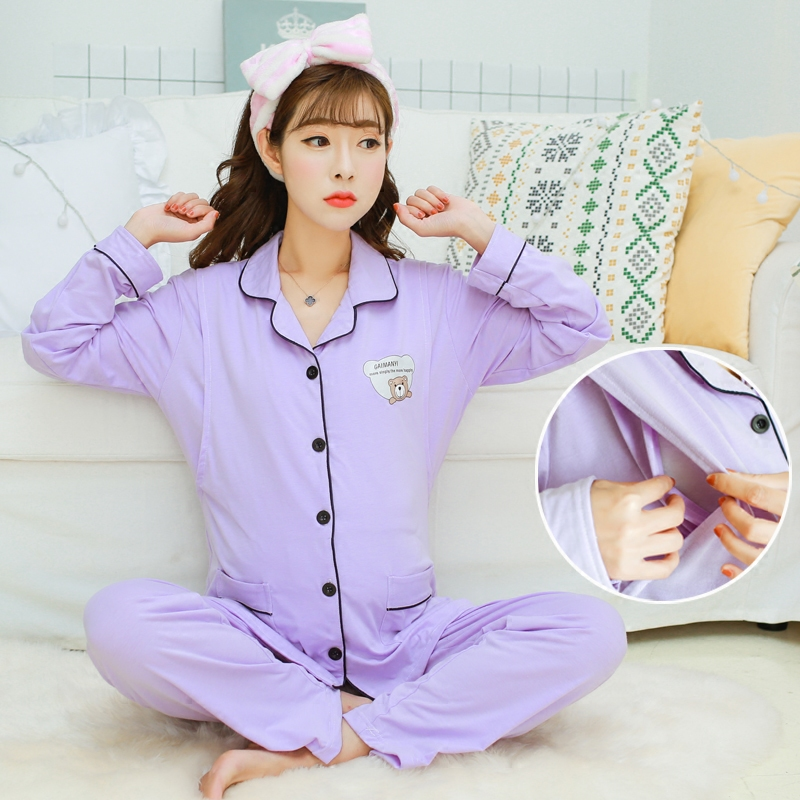 薄款春夏季纯棉产后产妇孕妇睡衣哺乳衣喂奶春秋季外出月子服套装