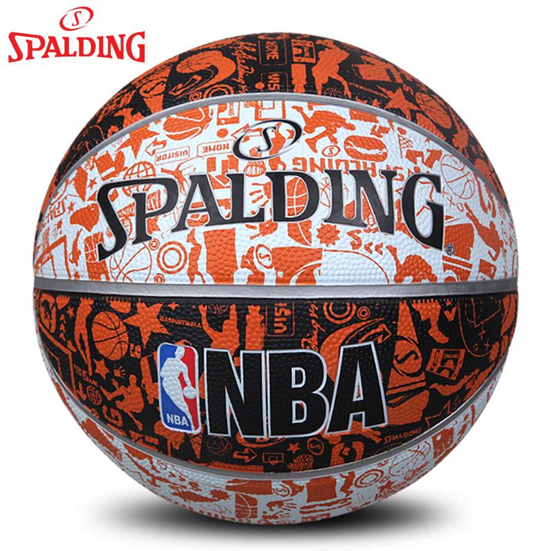 斯伯丁NBA籃球正品 塗鴉炫彩街頭室內外水泥地耐磨防滑橡膠lanqiu