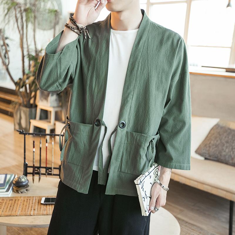 复古青年薄款外浮世绘套道袍中国风汉服棉麻上衣中袖开衫对襟和服