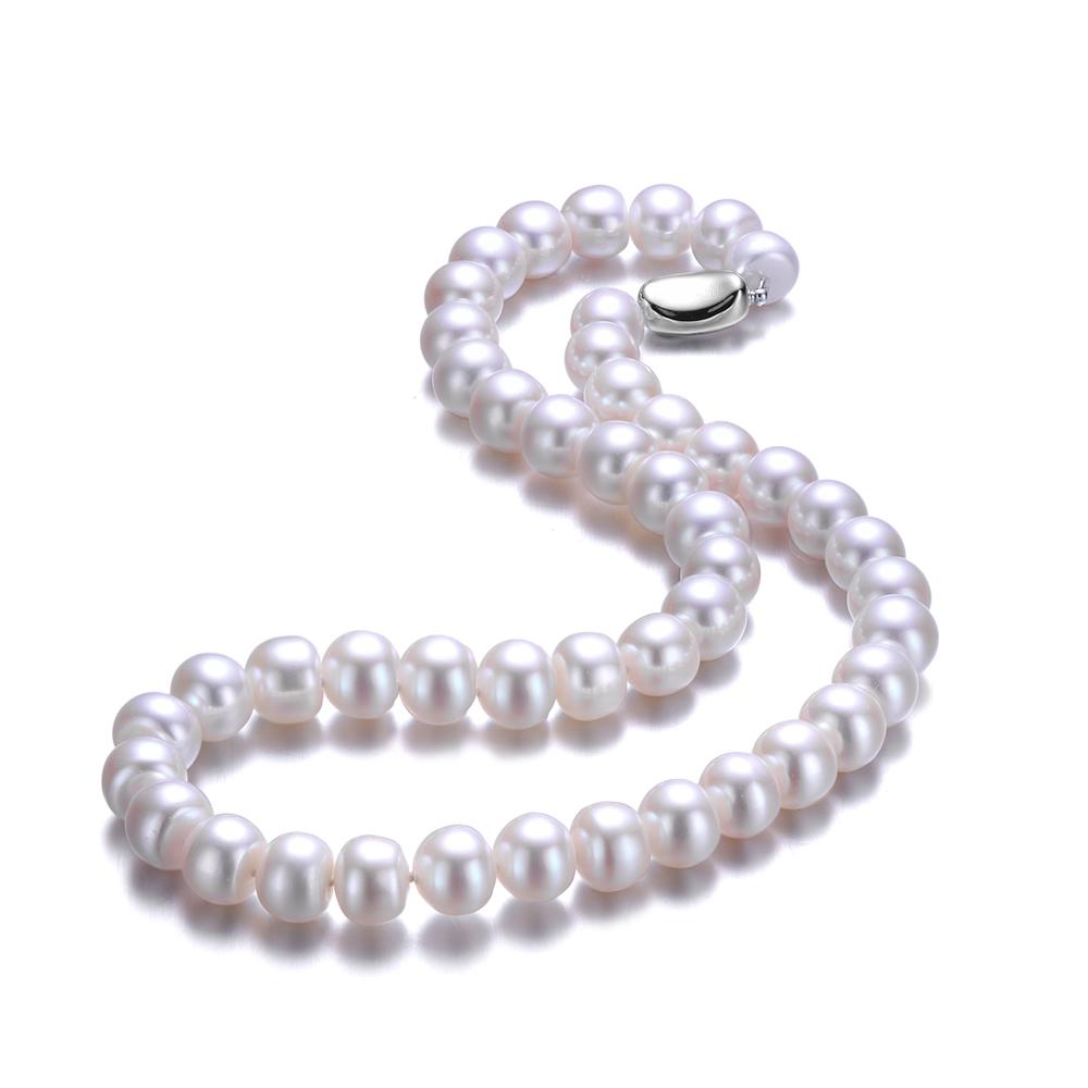 福钰润9-10mm白色强光淡水珍珠项链女款送妈妈婆婆礼物包邮送耳钉
