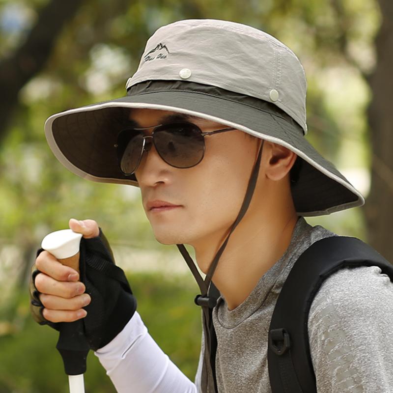 太阳帽男遮阳帽夏季钓鱼帽子男士防晒帽户外防紫外线草帽渔夫帽