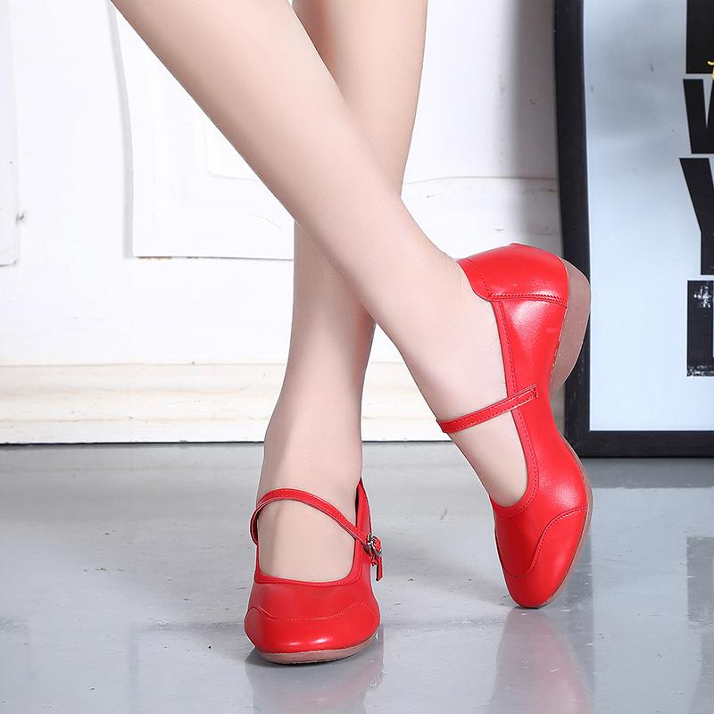 夏季舞蹈鞋 軟底真皮廣場舞鞋女牛筋底平底女鞋防滑跳舞鞋練功鞋