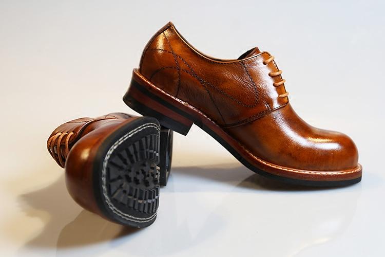 欧美做旧真皮牛皮低帮大头英伦商务休闲复古工装马丁德比皮鞋男女