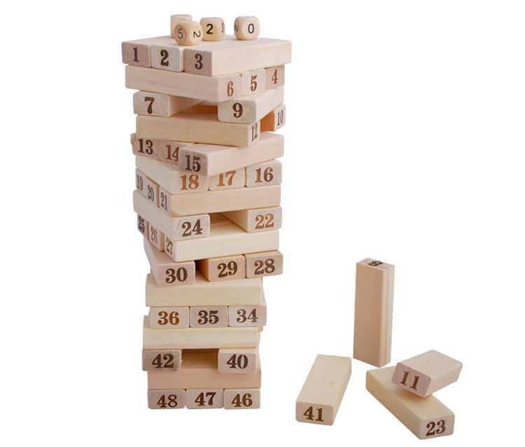 木48粒大号叠叠乐数字叠叠高叠叠圈抽积木益智力儿童玩具成人桌游