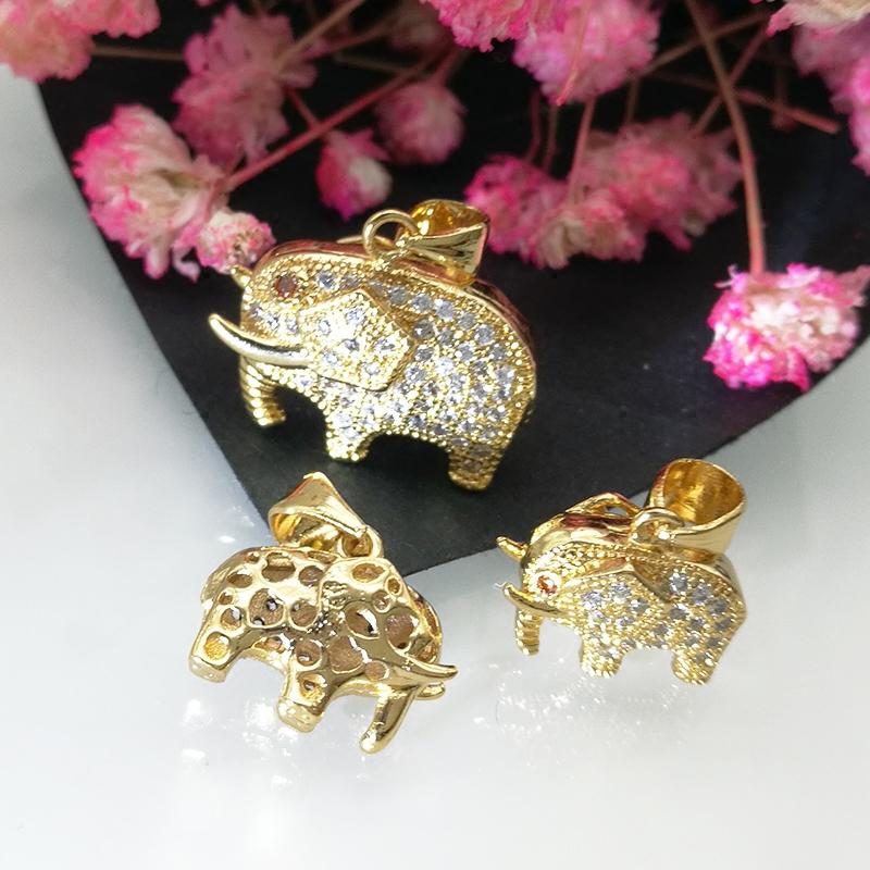 镶钻小象项坠 富贵象泰国象 配件 DIY 不褪色真空镀金 金色大象吊坠