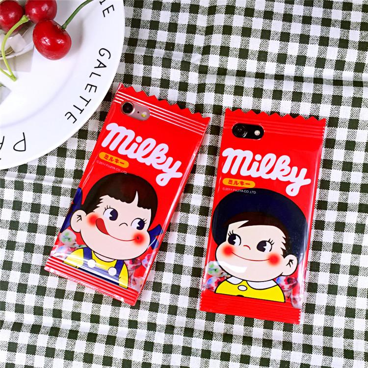 不二家牛奶妹糖果X蘋果7手機殼iPhone6splus矽膠保護套5S情侶