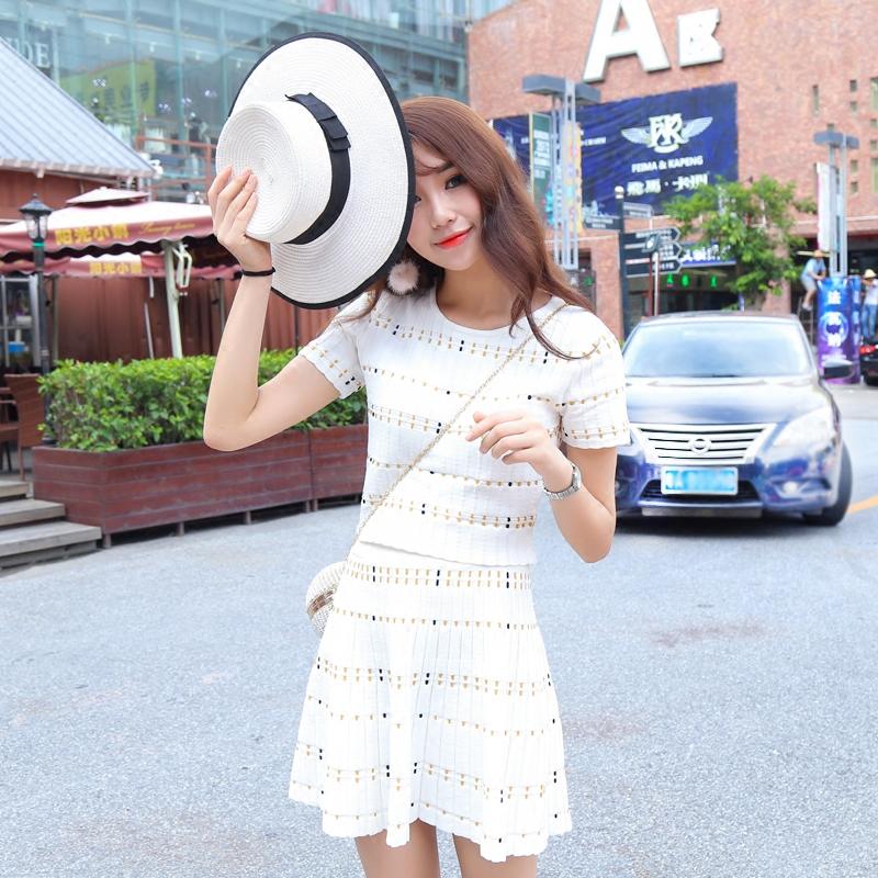 网红同款定制夏季花针针织短袖T恤女时尚气质套装a字短裙两件套