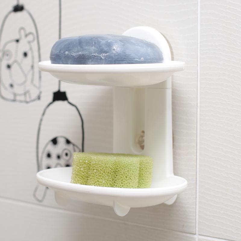 日本進口雙層肥皂盒強力吸盤香皂盒浴室瀝水香皂架創意雙格海綿架