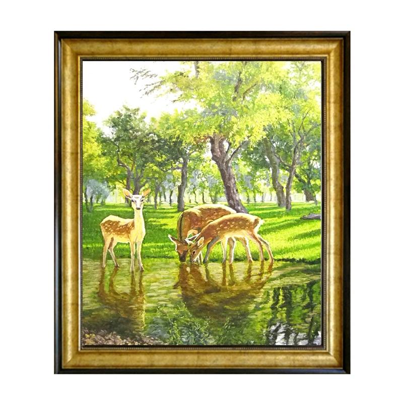 餐廳動物小鹿原創油畫純手繪歐式美式客廳組合豎幅純手工裝飾掛畫