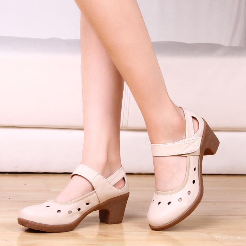 紫蝶同款夏季中老年舞蹈鞋廣場舞鞋真皮女式增高軟底透氣春秋舒適