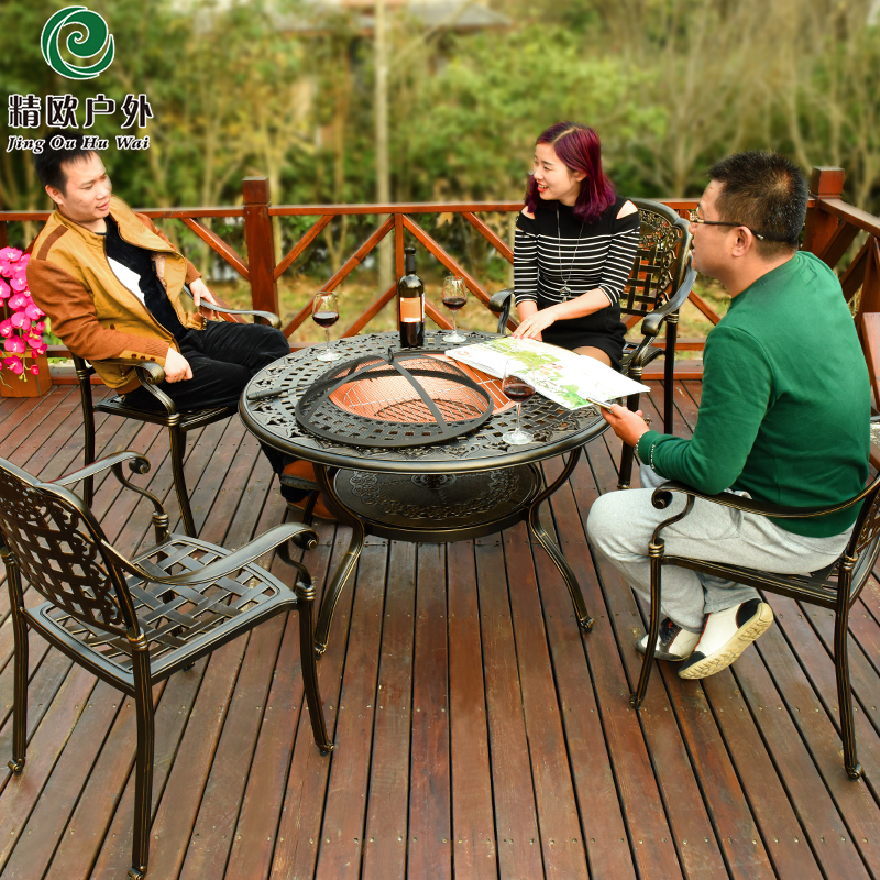 精欧户外庭院室外露台阳台桌椅套件组合铸铝休闲烧烤餐桌椅五件套