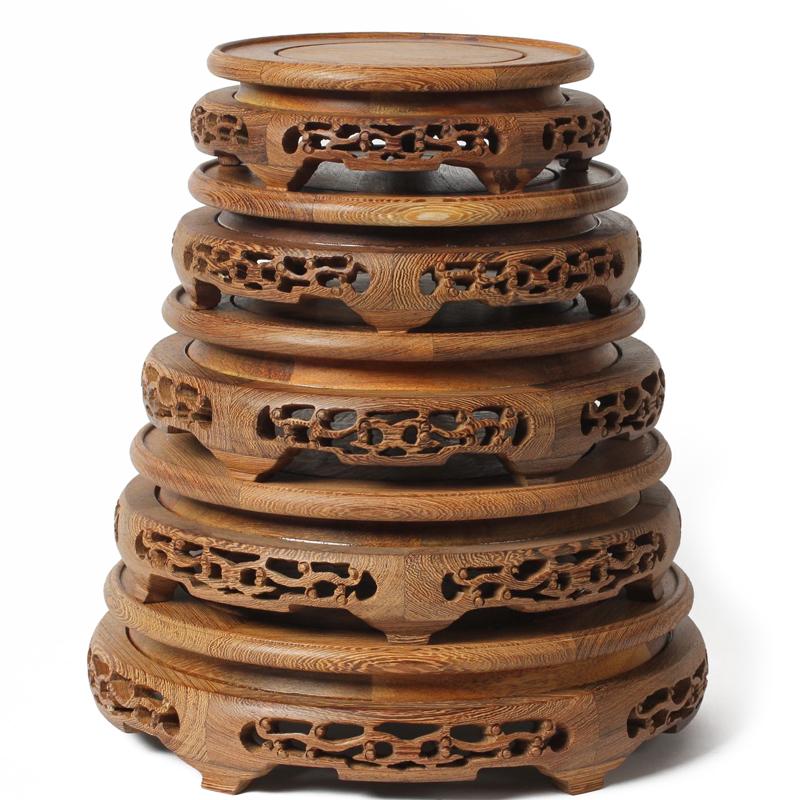 红木圆形茶壶鱼缸石头佛像花瓶花盆底座鸡翅木质奇石实木托架摆件