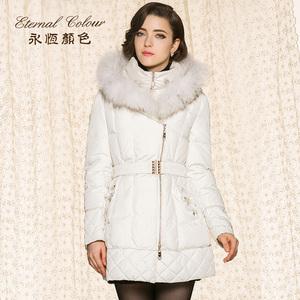 永恒颜色冬季新款大毛领白鸭绒加厚修身女装羽绒服G41014