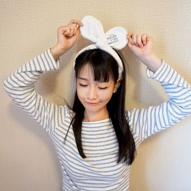 韩国束发带洗脸敷面膜发箍化妆包头巾头套景甜同款可爱兔耳朵发带