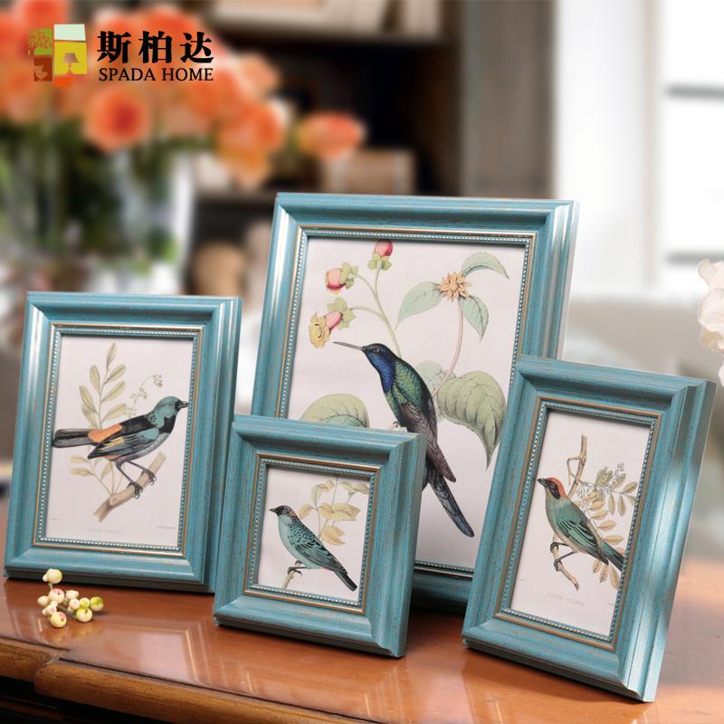 相框摆台美式复古创意挂墙带打印欧式七寸组合照片框加冲印像框架
