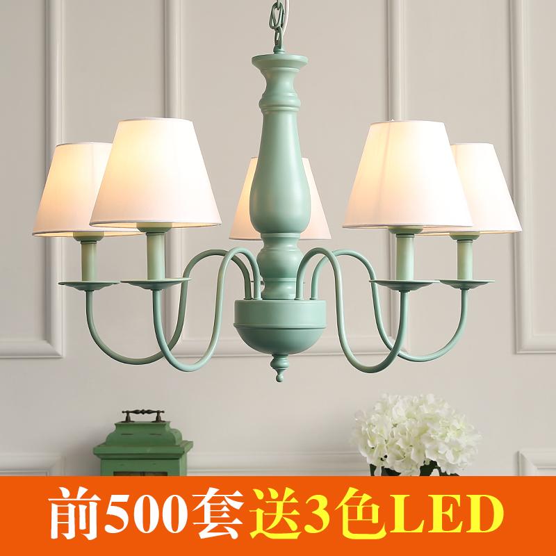厅卧室欧式布艺铁艺地中海吊灯