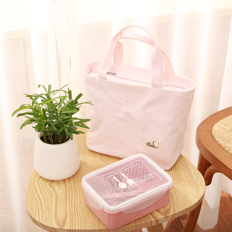 日式春款帆布饭盒袋便当包女士带饭包手提袋补习袋妈咪包背奶清新