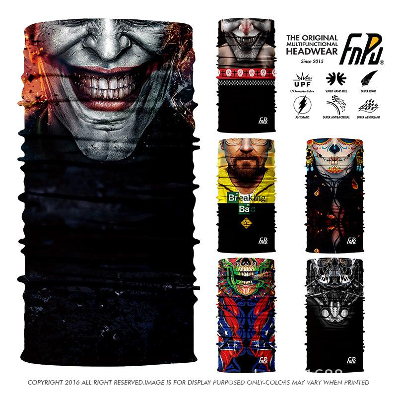 魔術頭巾脖套戶外騎行面罩防晒全臉3D護臉小丑Joker絕命毒師骷髏