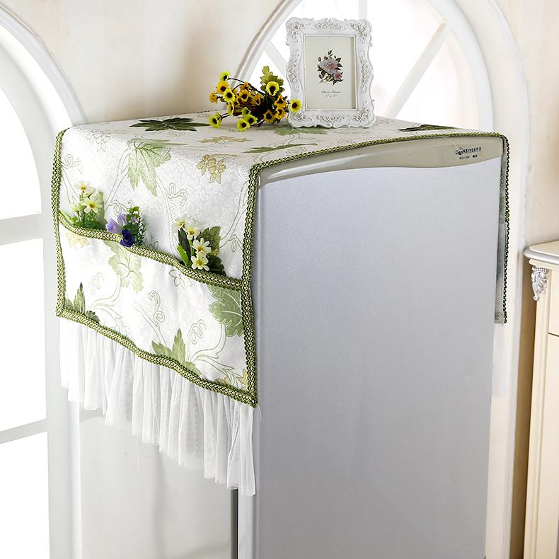 布艺蕾丝冰箱盖布单双开门冰柜防尘罩子帘滚筒式洗衣机盖巾对开门