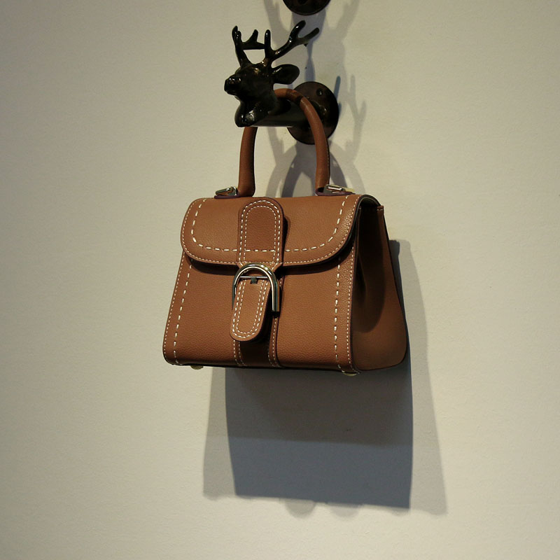 KAYBAS 定製款秋冬高品質車縫線手提皮扣進口牛皮馬鞍包牛皮包女