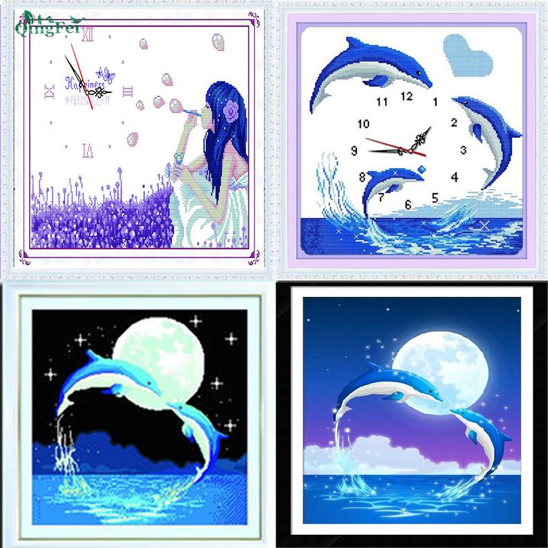青飛幸福泡泡鍾十字繡海豚灣戀人藍色之戀卡通掛鐘表臥室有鑽石畫