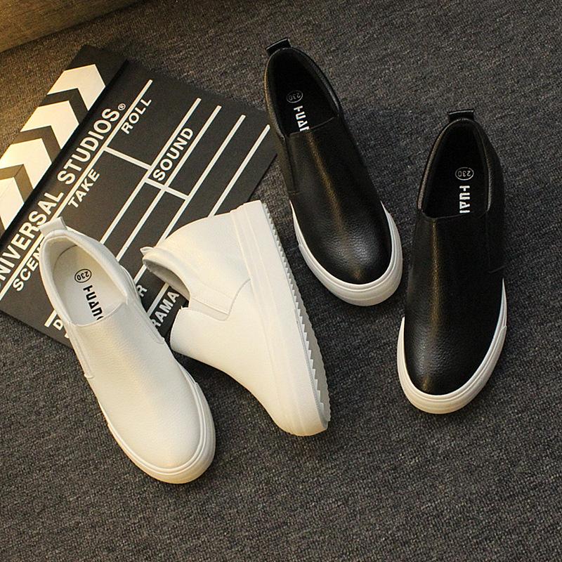 內增高女鞋小白鞋秋季新款百搭8CM一腳蹬黑色厚底懶人樂福鞋
