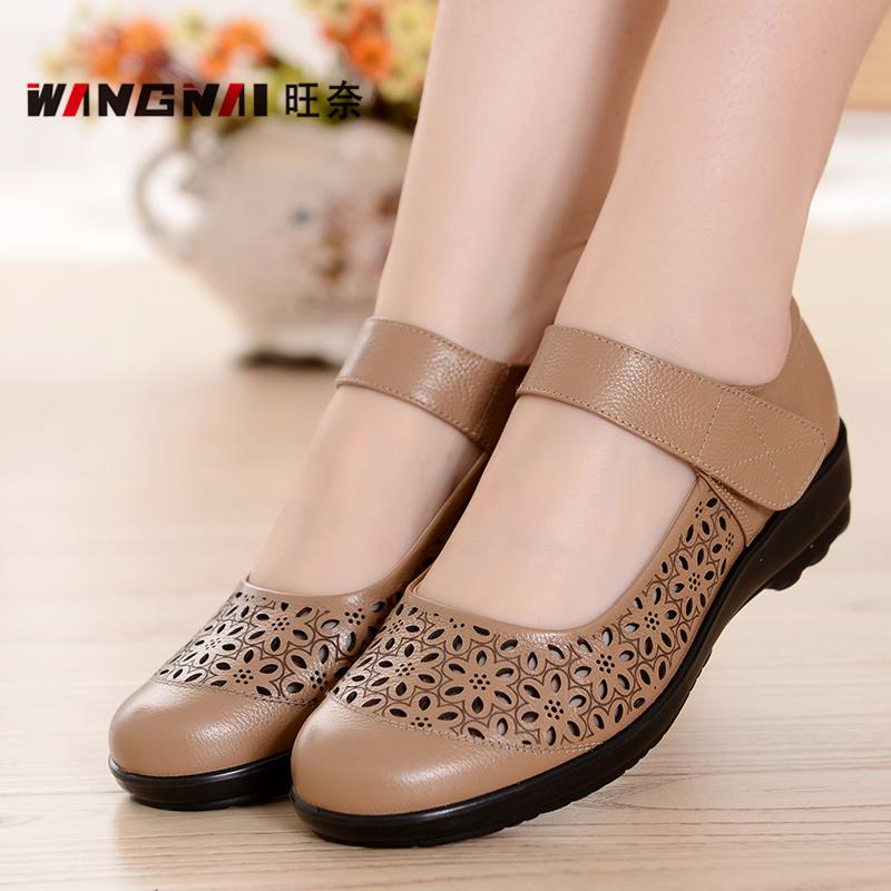 夏季媽媽涼鞋女真皮平底防滑奶奶鞋女中老年女鞋舒適軟底老人皮鞋