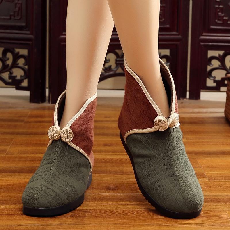 老北京布鞋女2018秋冬季新款女靴棉鞋短筒民族风中老年妈妈二棉鞋