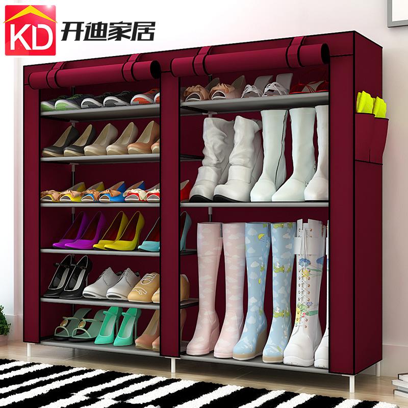雙排簡易鞋架防塵布鞋櫃簡約現代加固組合收納櫃多層鋼架創意包郵
