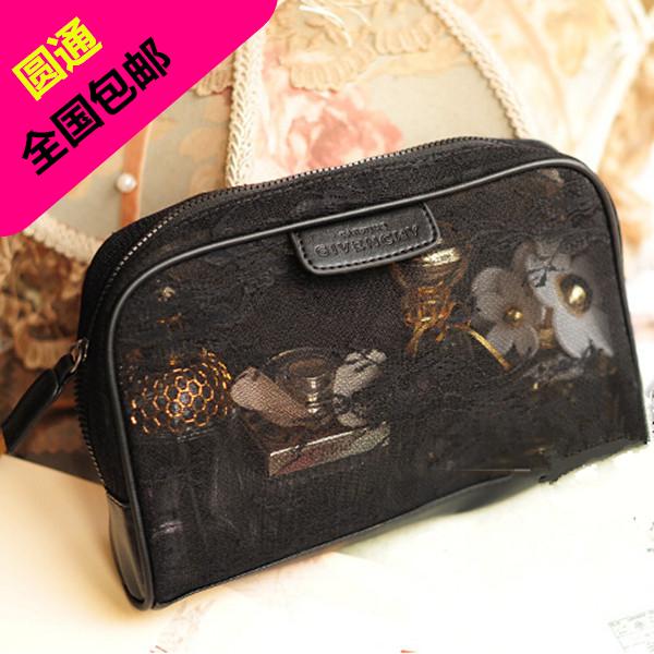 包郵網紅黑色手拿收納包便攜蕾絲大容量化妝包手拿女包旅行洗漱包