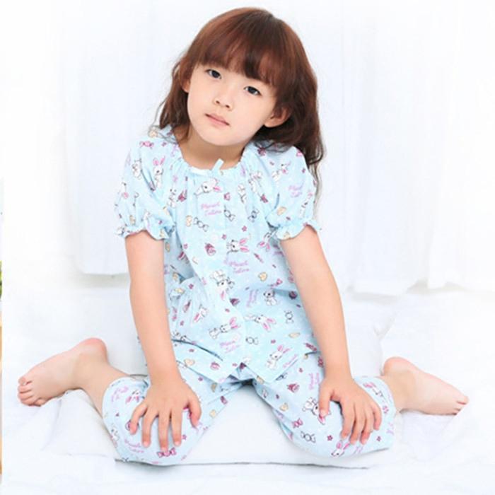 女童夏季薄款純棉紗布短袖七分褲睡衣大小童卡通全棉家居服套裝新