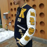 Men's college style baseball uniform stitching jacket cotton jacket cotton clothing labeling flying jacket vomiting meeting Lin Dan with the same paragraph