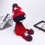 Children's hat scarf set autumn and winter 1-6 years old boy double wool knit hat bib two-piece girl