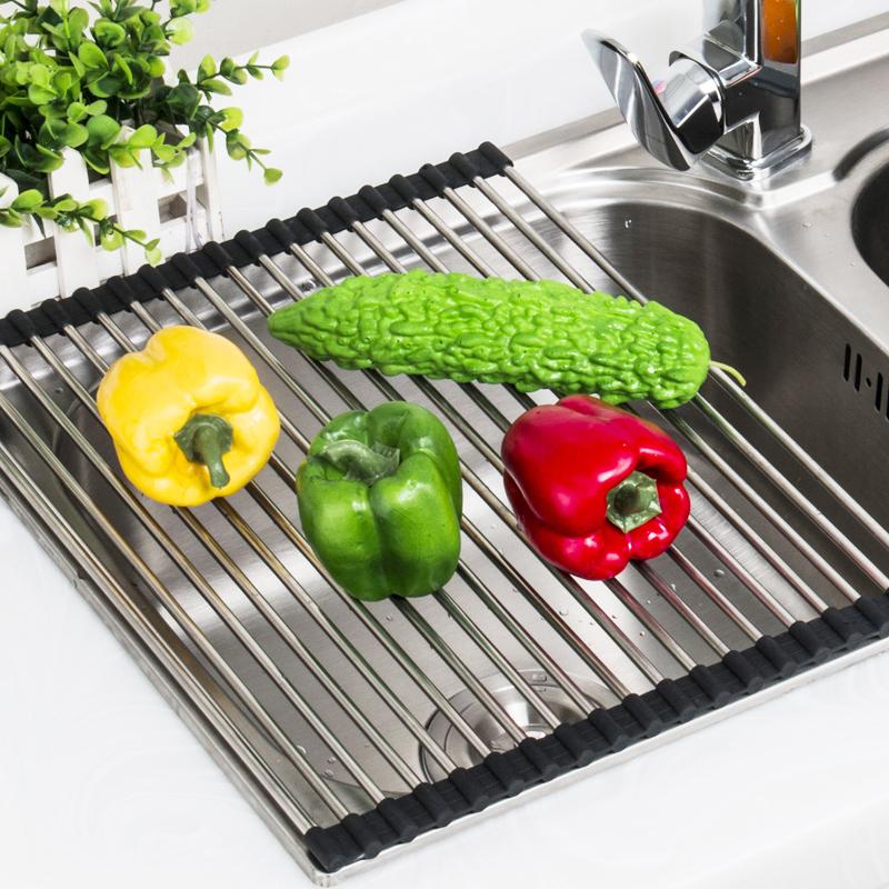 肯勒新款厨房水槽水果篮沥水卷帘不锈钢沥水帘沥水盆可折叠置物架
