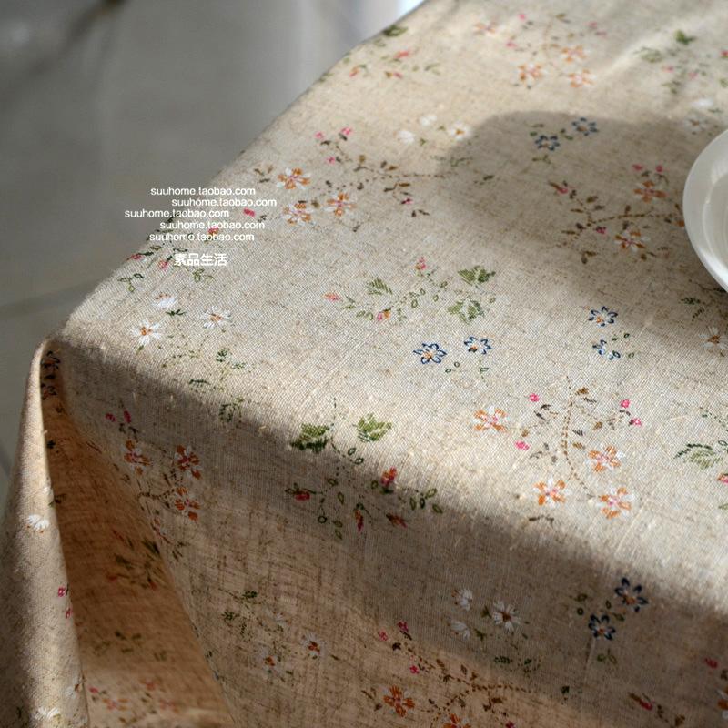 美式復古田園鄉村自然棉麻懷舊碎花蓋布茶几布/桌布/檯布餐桌布藝